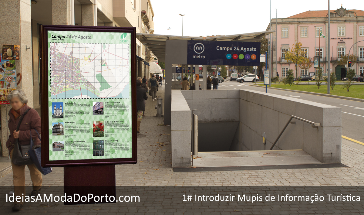 Pontos informativos espalhados pela cidade, que mostrem o que existe nas redondezas de forma apelativa