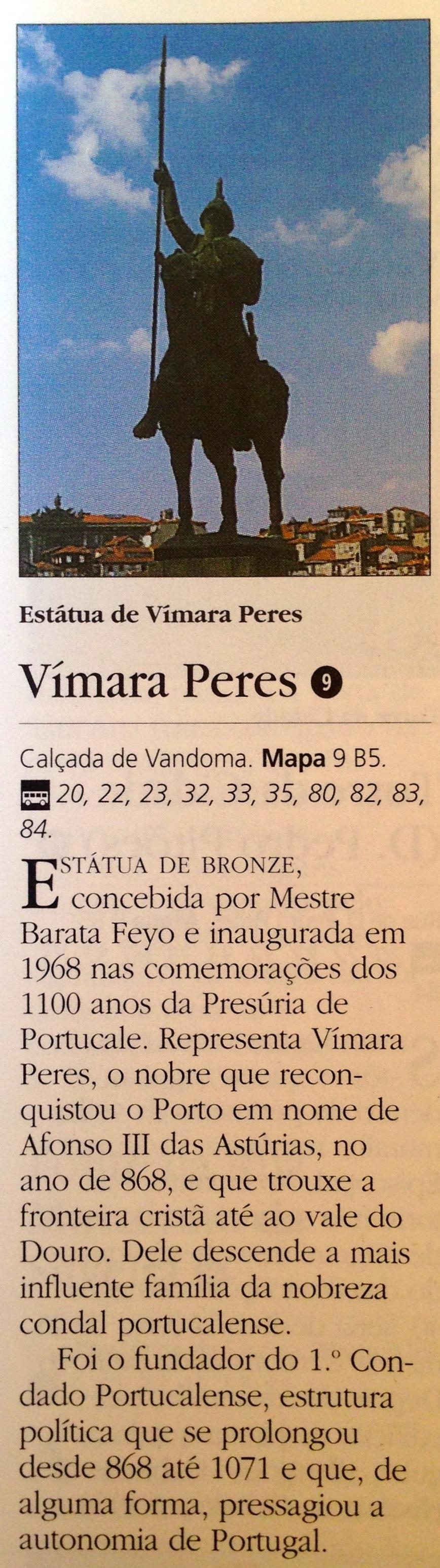 """Excerto do """"Guia American Express-Porto"""" referindo a estátua de Vímara Peres"""