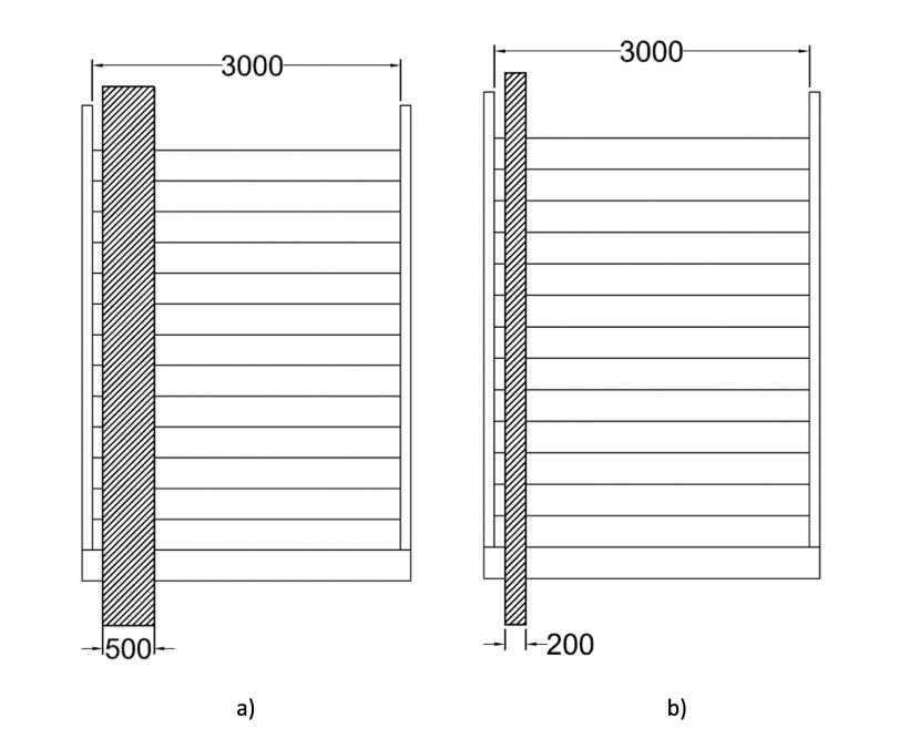 Figura 1 – Solução de rampa, para o caso de uma escada de 3,0 metros de largura – a) estação ferroviária com grande afluência de pessoas; b) escada de cidade em zona de passagem frequente de ciclistas.