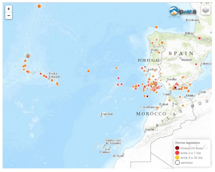 Figura 2 – Mapa ilustrativo das últimas ocorrências sísmicas registadas para o período 11/08/2015 a 10/09/2015 (fonte:https://www.ipma.pt/pt/geofisica/sismicidade/index.jsp)